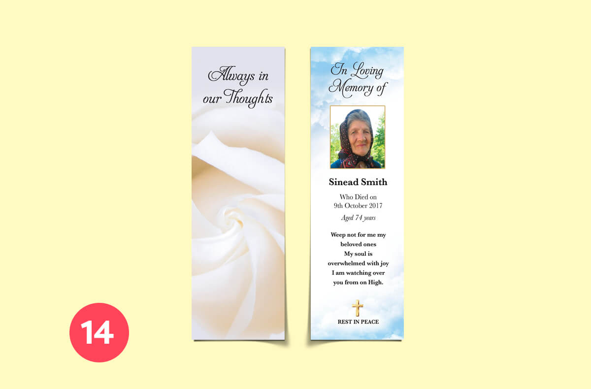 always in our thoughts - bookmark memorial cards