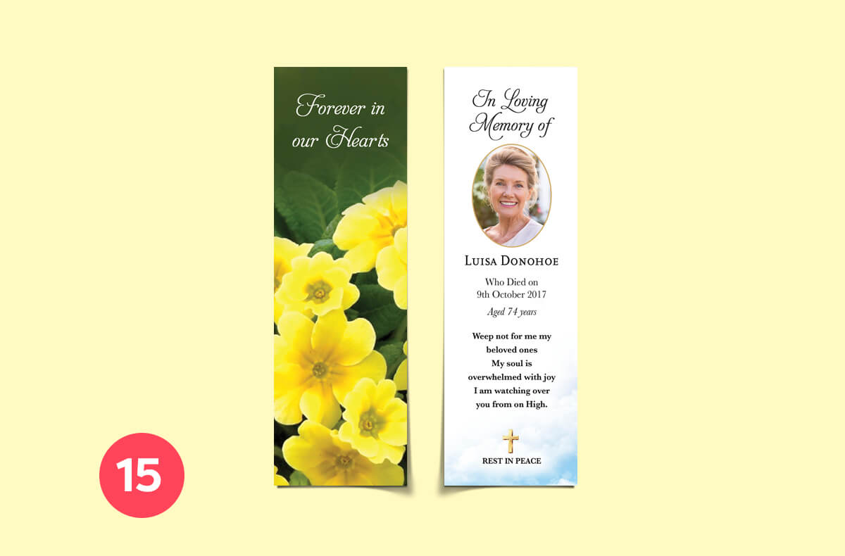 forever in our hearts - bookmark memorial cards