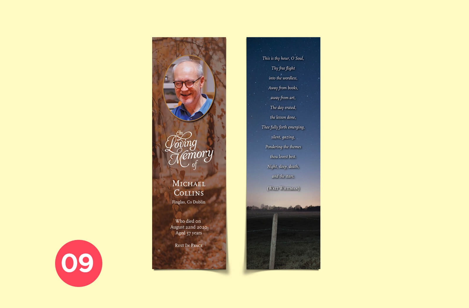 cheap bookmark memorial cards