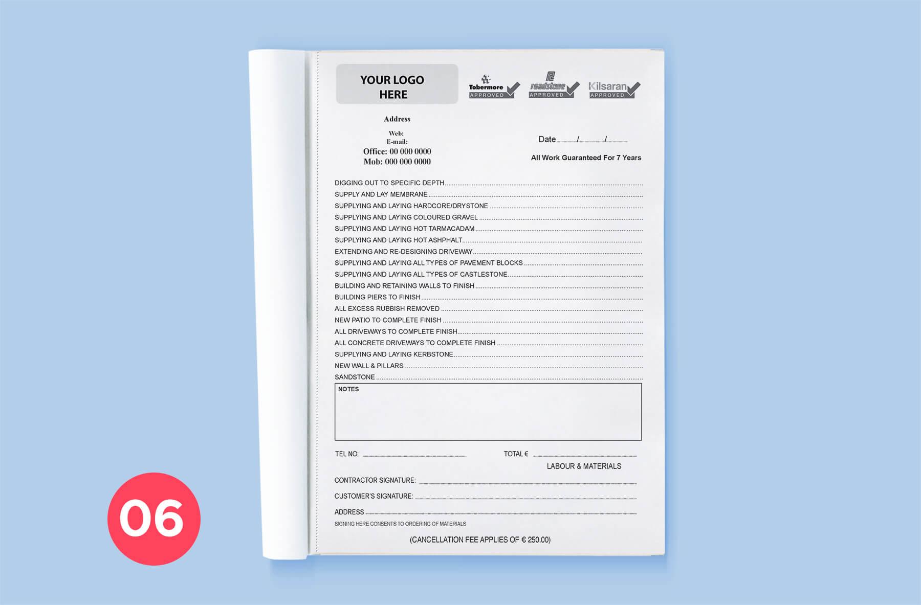 invoice book mockup