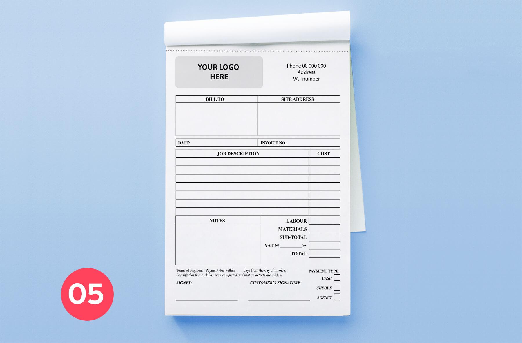Invoice Book A5 size