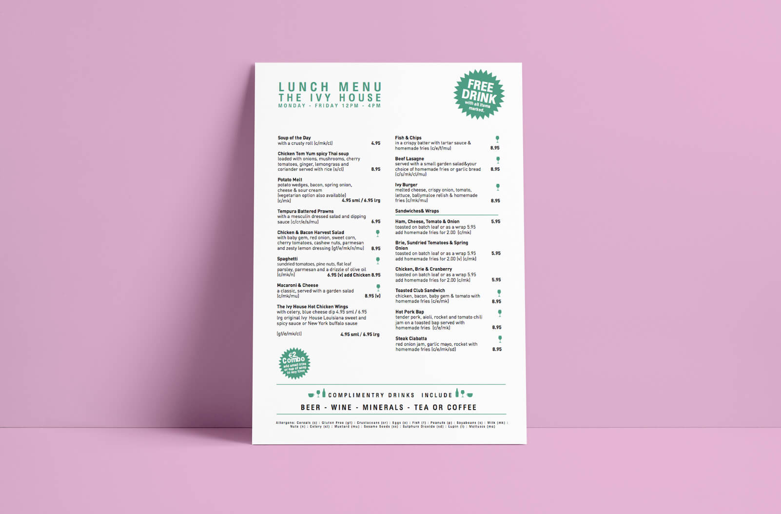 Lunch menu Takeaway printing