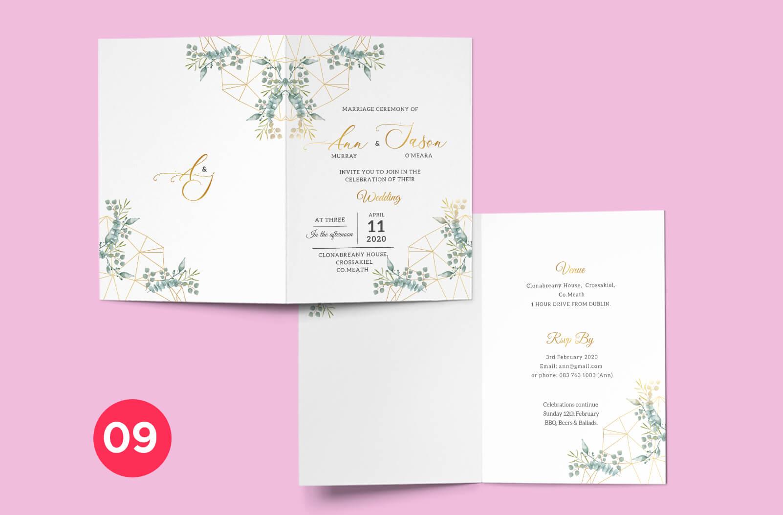 Wedding Invitation Mockup - Print Ready