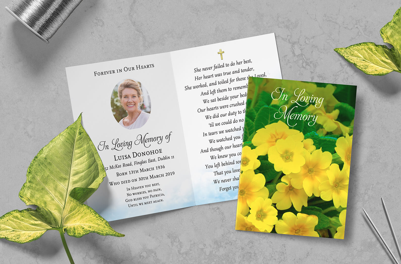 Memorial cards printing available