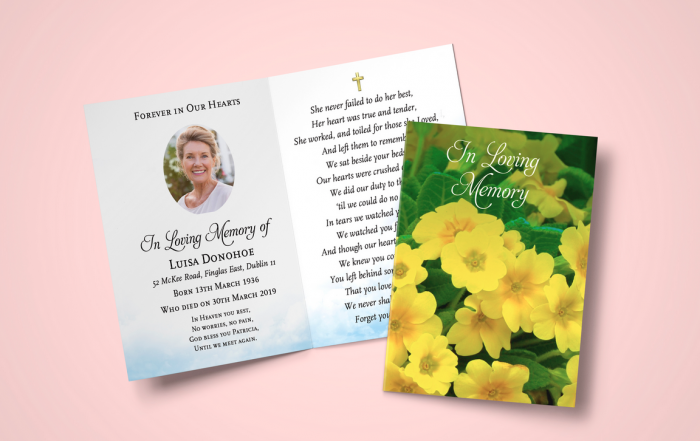 full color memorial cards
